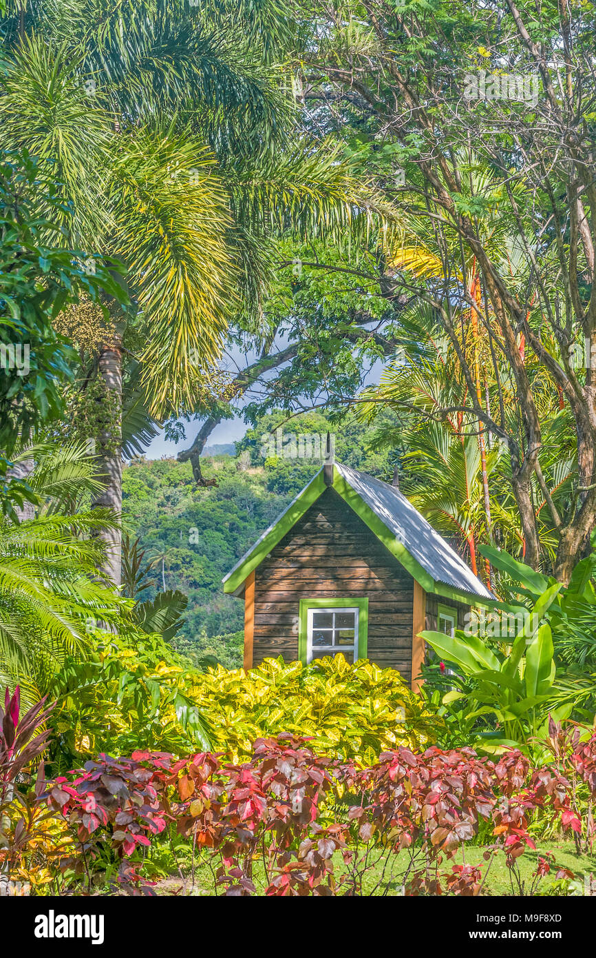 Hut In The Garden Romney Manor ST. Kitts West Indies - Stock Image