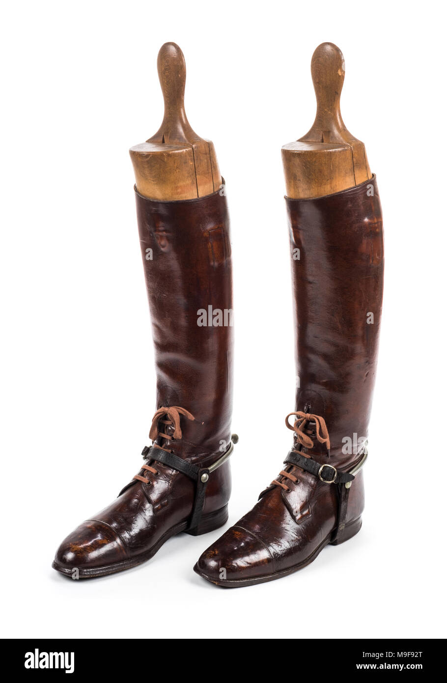 Pair of WW1 British Officer's leather boots with wooden trees - Stock Image