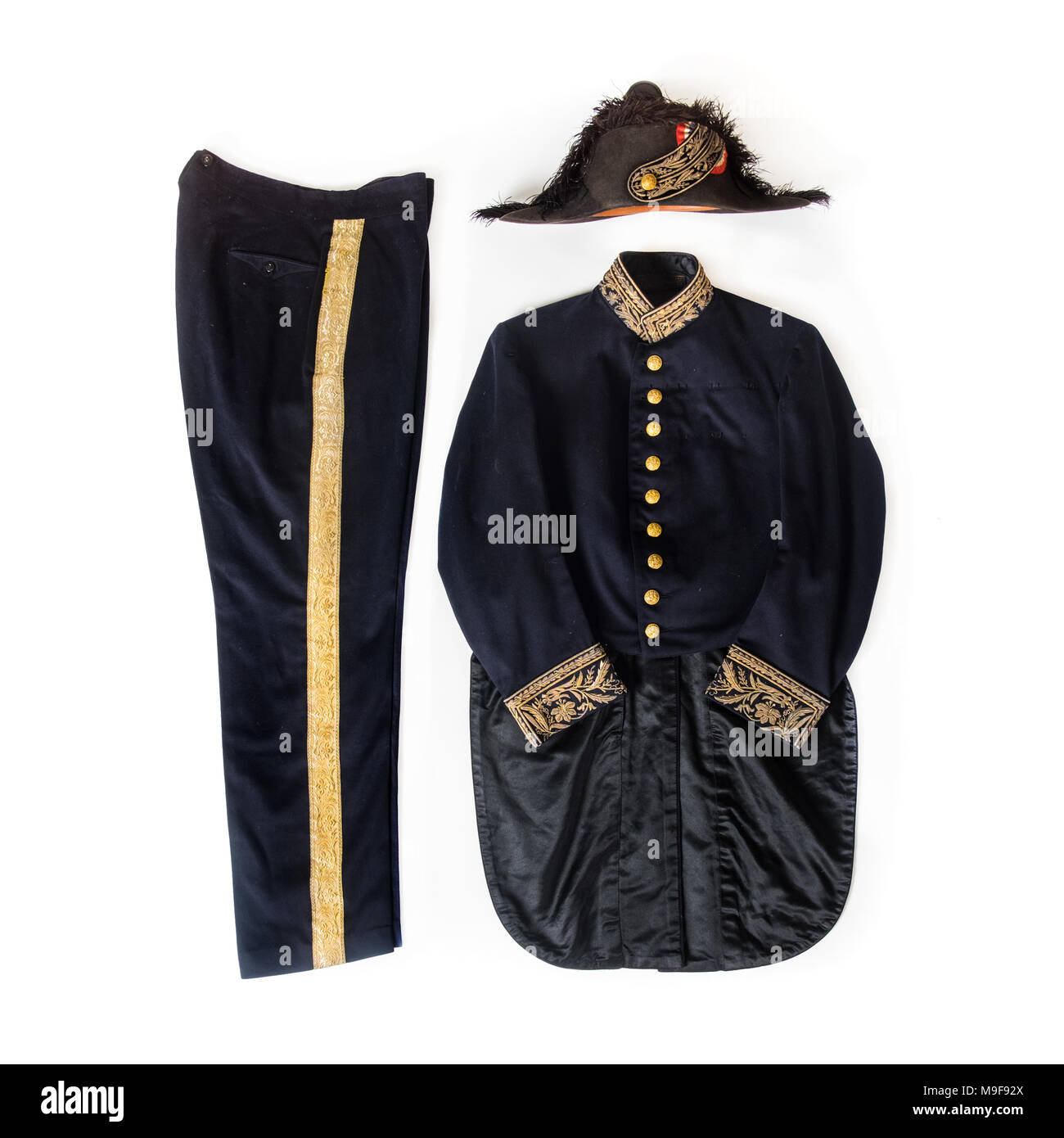Antique 19th century (c.1895) French Diplomatic Officer's uniform with bicorne hat - Stock Image
