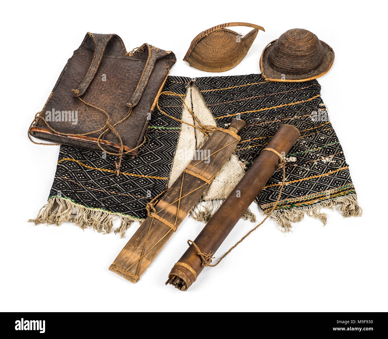 Apatani tribe items including a Yatee hat, a Bopa hat and other items woven from bamboo and cane. The Apatani are from Arunachal Pradesh in India. - Stock Image