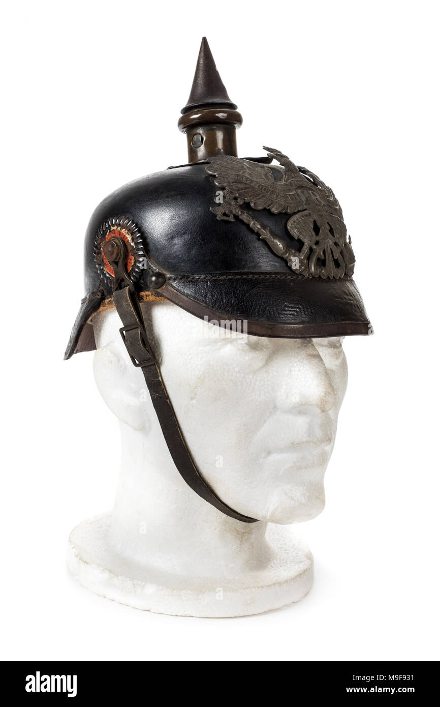 WW1 German Imperial Pickelhaube (spiked) helmet, recovered from a German infantryman near Villers-Bretonneux, France in 1918. - Stock Image