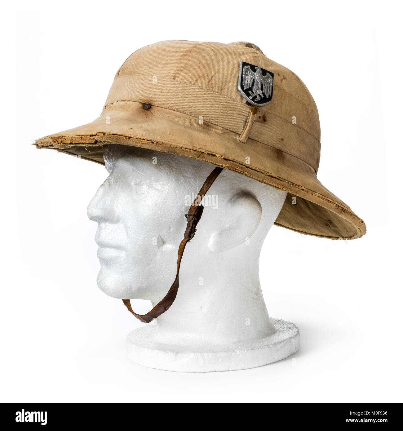 365cb05553630 WW2 German Third Reich Afrika Korps tropical pith helmet with original  Wermacht decals featuring the Swastika