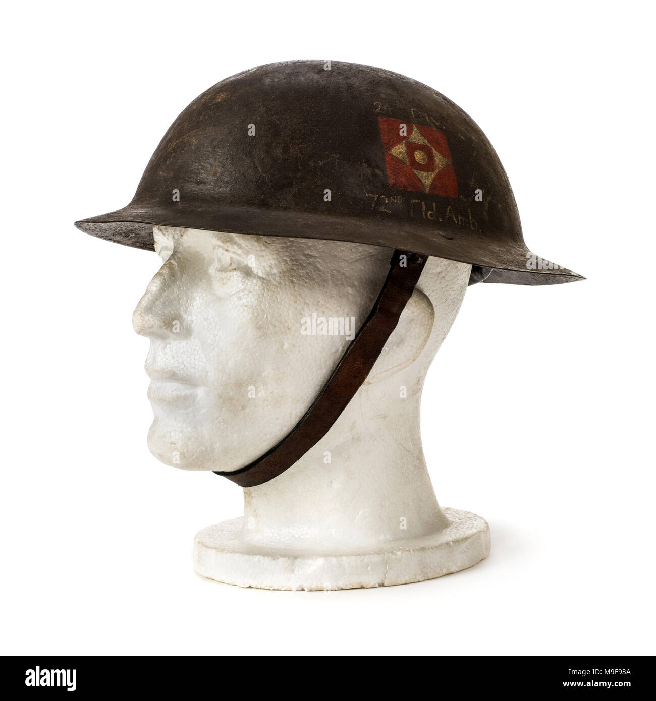 British WW1 'Type A' Brodie medic helmet with decals of the 72nd Field Ambulance, 24th Division. - Stock Image