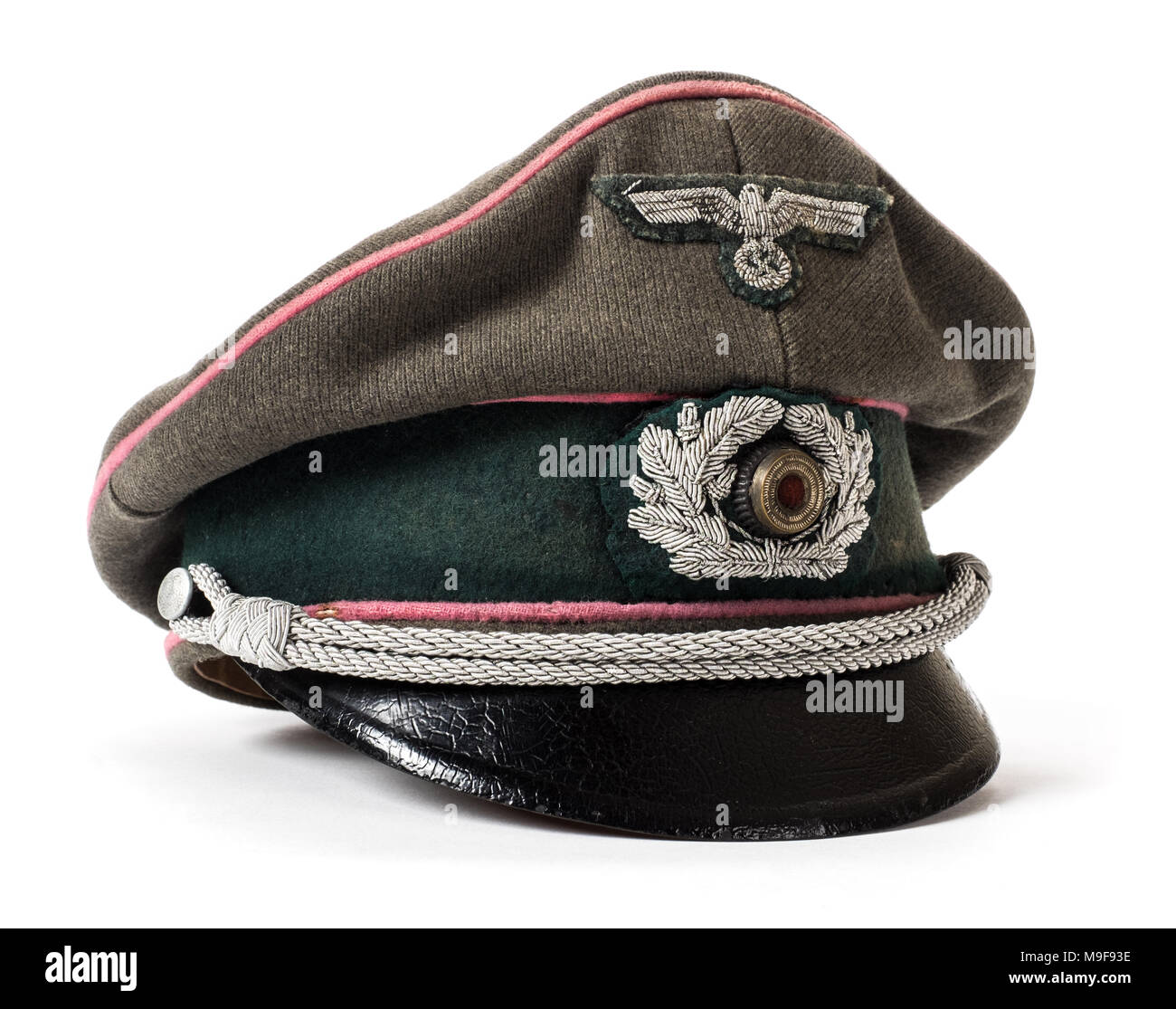 WW2 German Third Reich Panzer Officer's visor with cloth insignia and Wermacht eagle - Stock Image