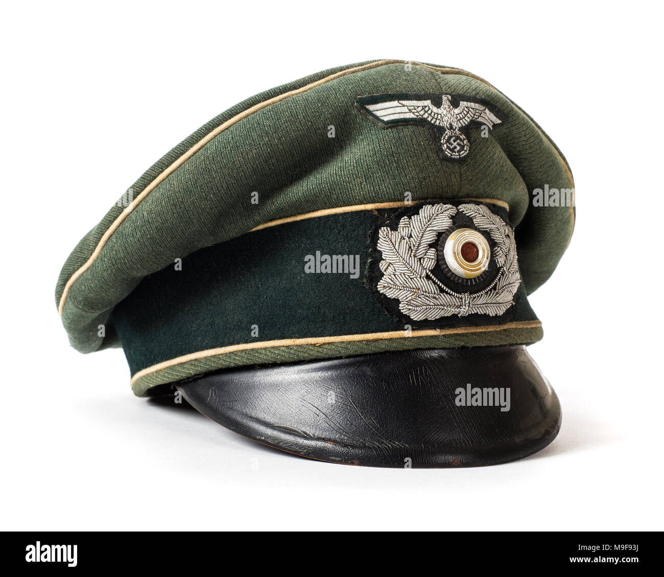 WW2 German Third Reich Army Officer's visor with cloth insignia and Wermacht eagle - Stock Image