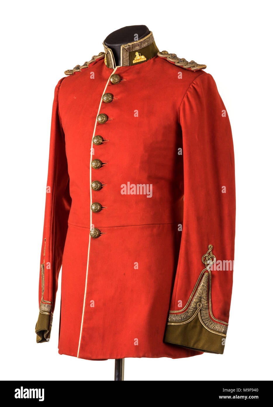 Victorian British Army Officer's scarlet uniform of the South Wales Borderers (24th Regiment of Foot), used during the Zulu War of 1879. - Stock Image