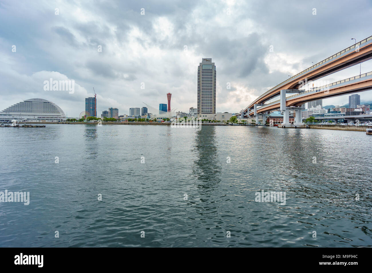 KOBE, JAPAN - June 3, 2015: Kobe tower and bridge at Port of Kobe in Kobe, Japan. - Stock Image