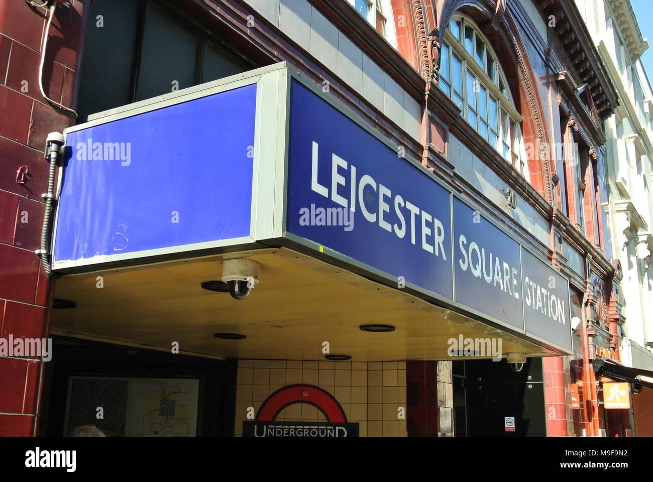 Leicester Square Station sign, Cranbourn Street, London, England, UK - Stock Image
