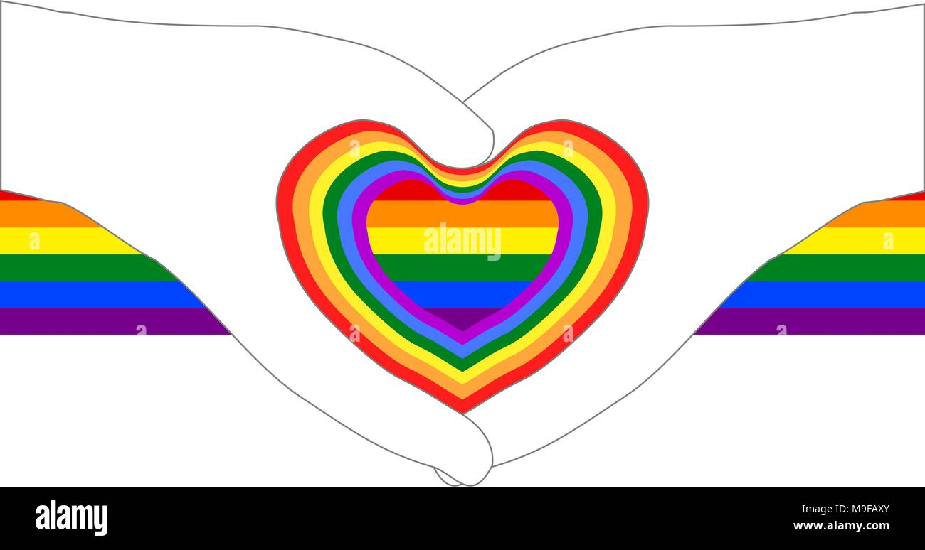 Heart shapes from hand outlines on colorful rainbow ribbon; white (transparent) background. Vector illustration, EPS10. - Stock Vector