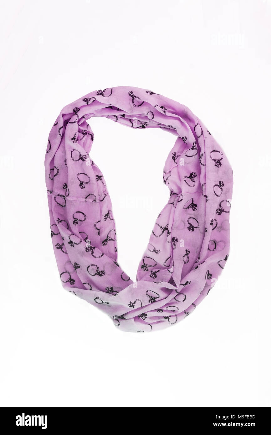 51df7b992 colored with trendy pattern ring scarf-snood, isolated on white background.  - Stock