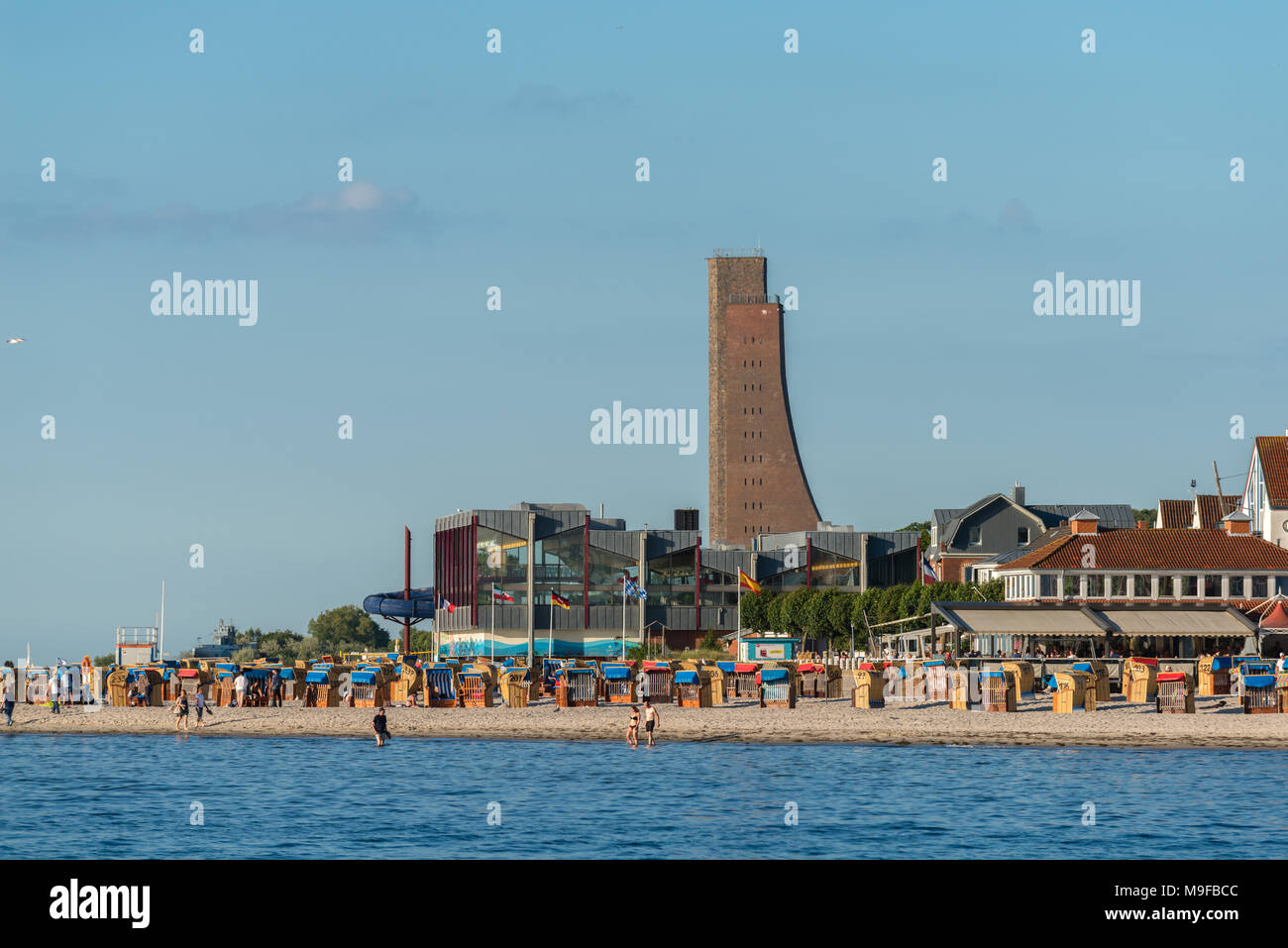 Samall seaside resort of Laboe on the Kiel Fjord with its marine memorial tower, Baltic Sea, Schleswig-Holstein, Germany - Stock Image