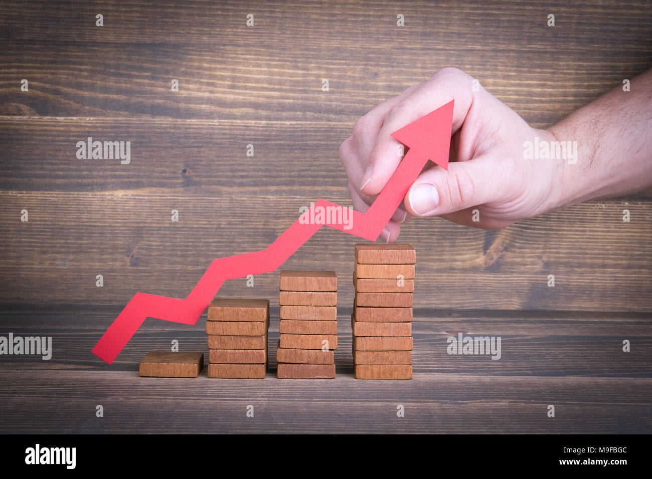 Career ladder, successful business and investment growth - Stock Image
