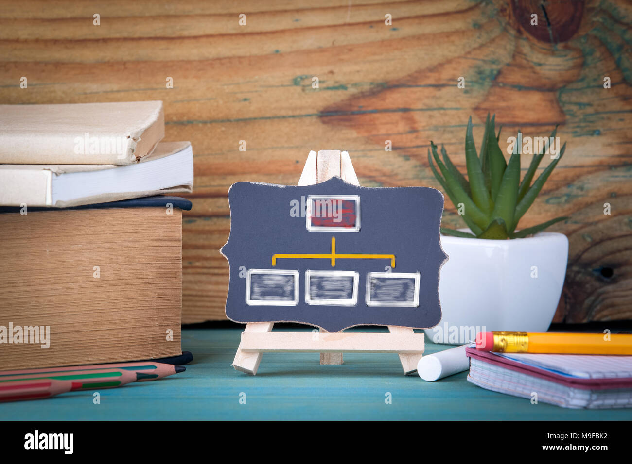 organization chart. small wooden board with chalk - Stock Image