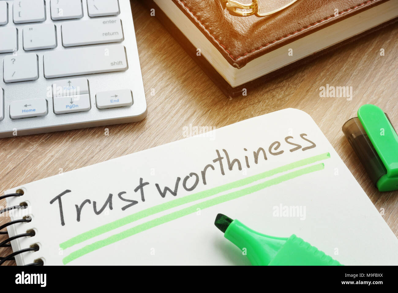 Trustworthiness written in note.Trustworthy or trust concept. - Stock Image