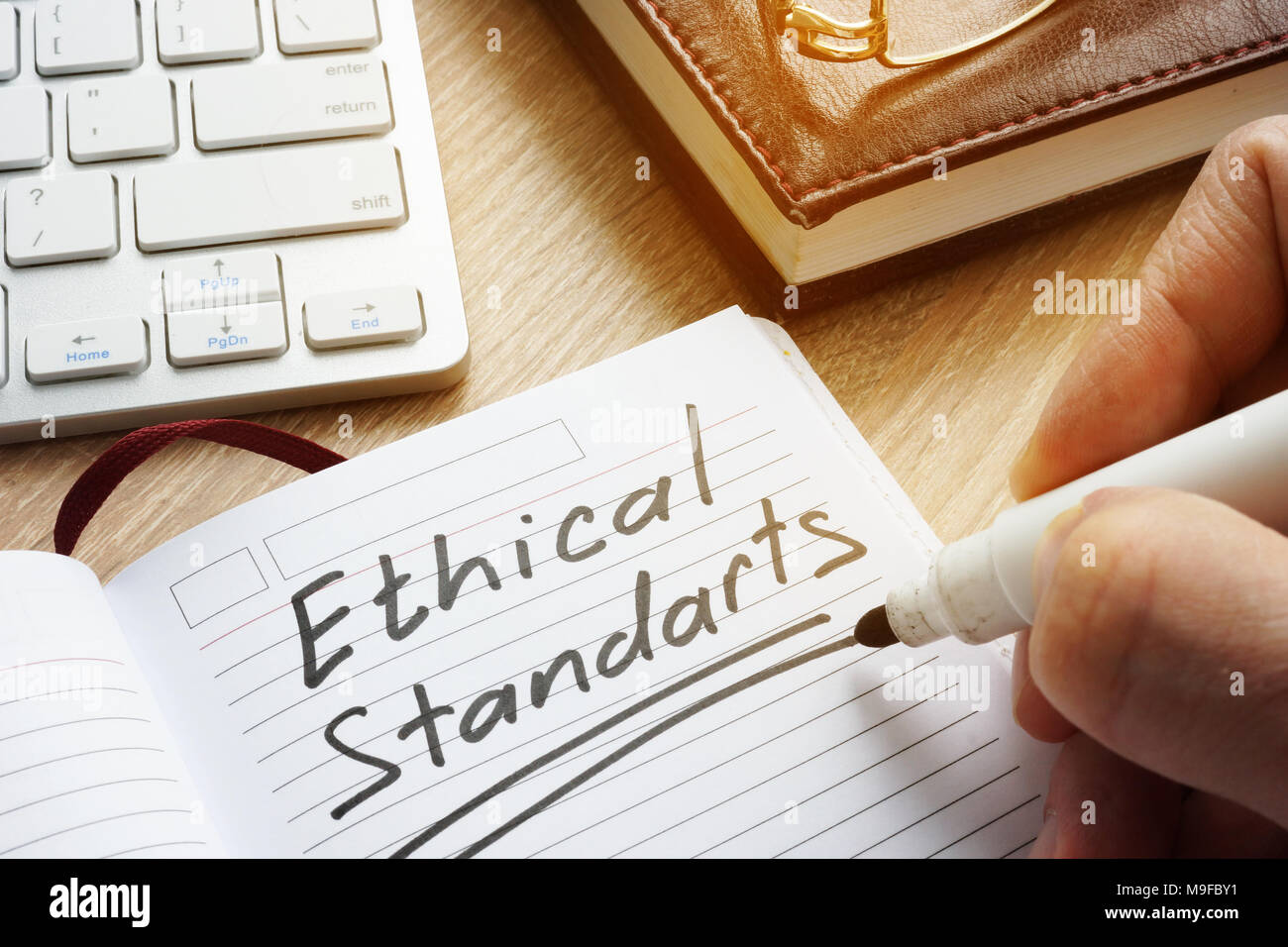 Ethical Standards written in note. - Stock Image