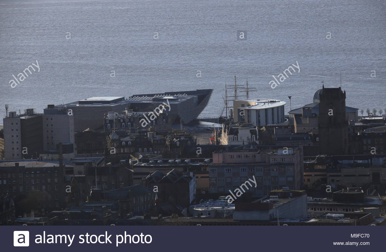 Elevated view of Discovery Point from Dundee Law Scotland  March 2018 - Stock Image