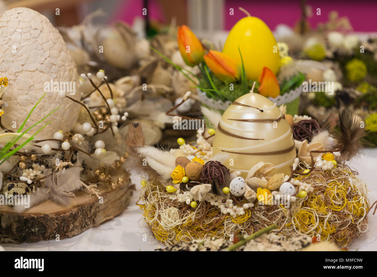 Easter decorations on the table - Stock Image