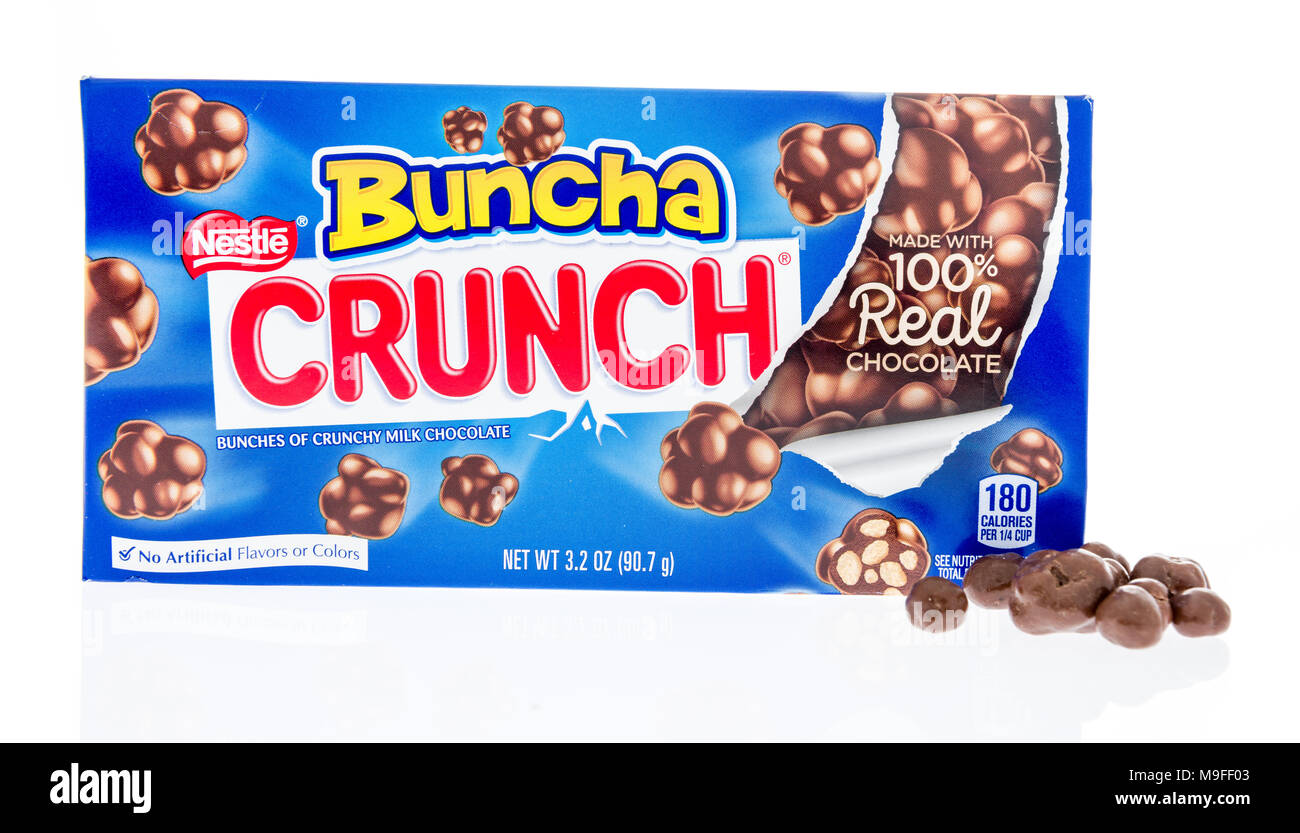 Winneconne, WI - 17 March 2018: A box of Nestle bunch crunch candy on an isolated background. - Stock Image