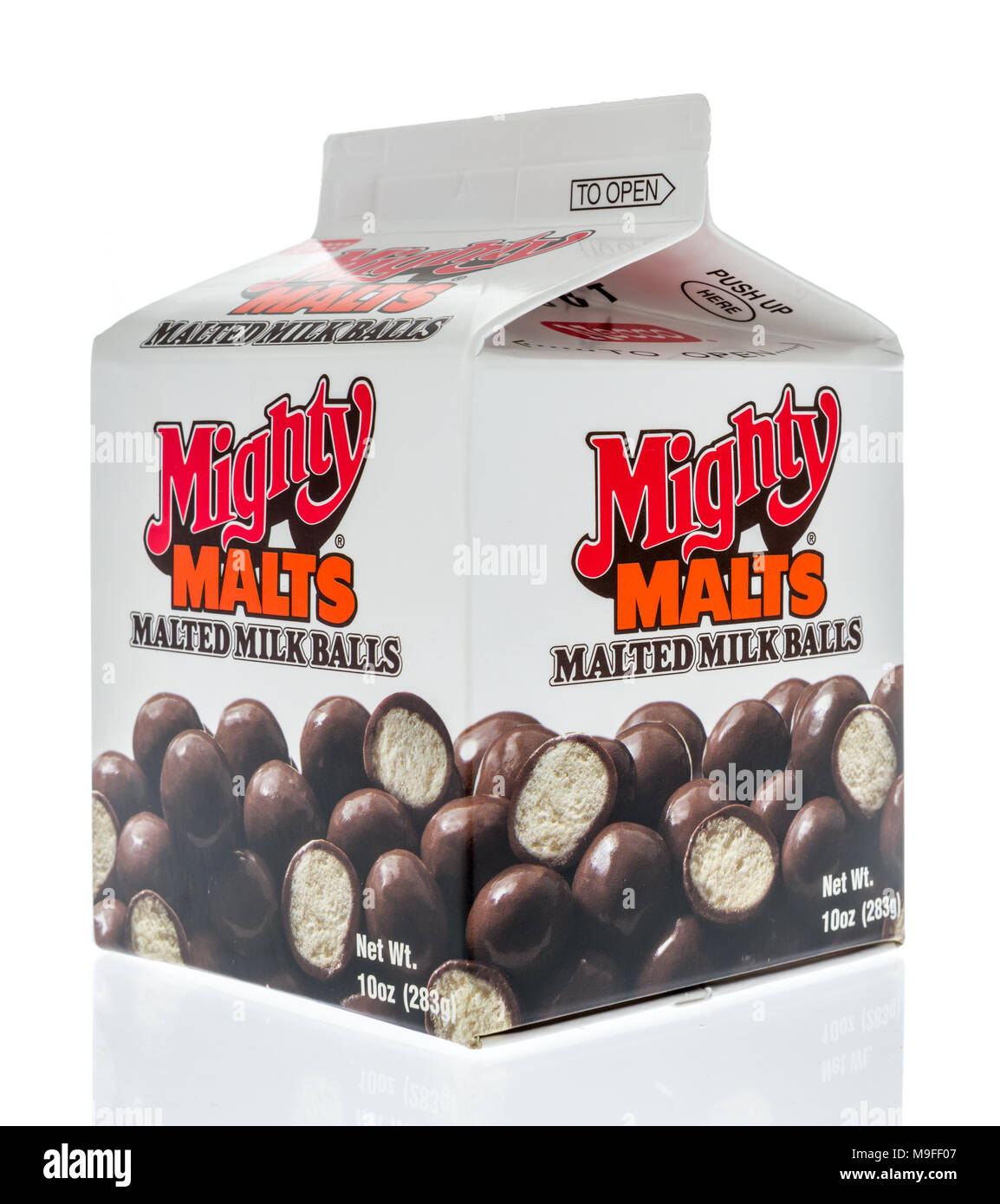 Winneconne, WI - 17 March 2018: A box of Mighty Malts malted milk balls candy on an isolated background. - Stock Image