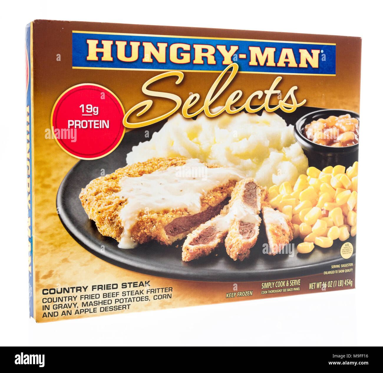 Winneconne, WI - 21 March 2018: A box of Hungry Man selects meal in country fried steak on an isolated background. - Stock Image
