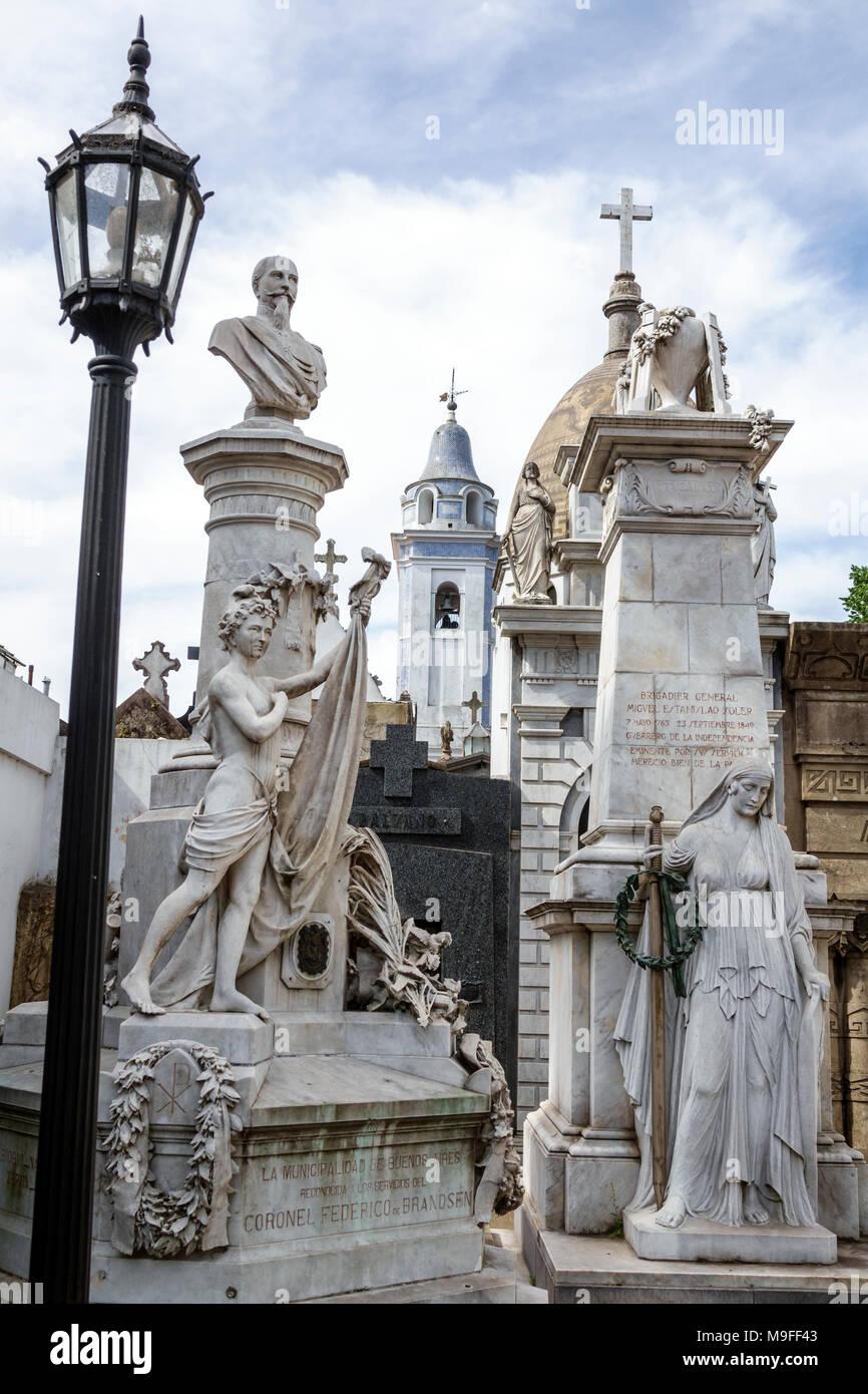 Buenos Aires Argentina Cementerio de la Recoleta Cemetery historic tombs statues mausoleums marble Coronel Federico de Brandsen General Miguel Estanis Stock Photo