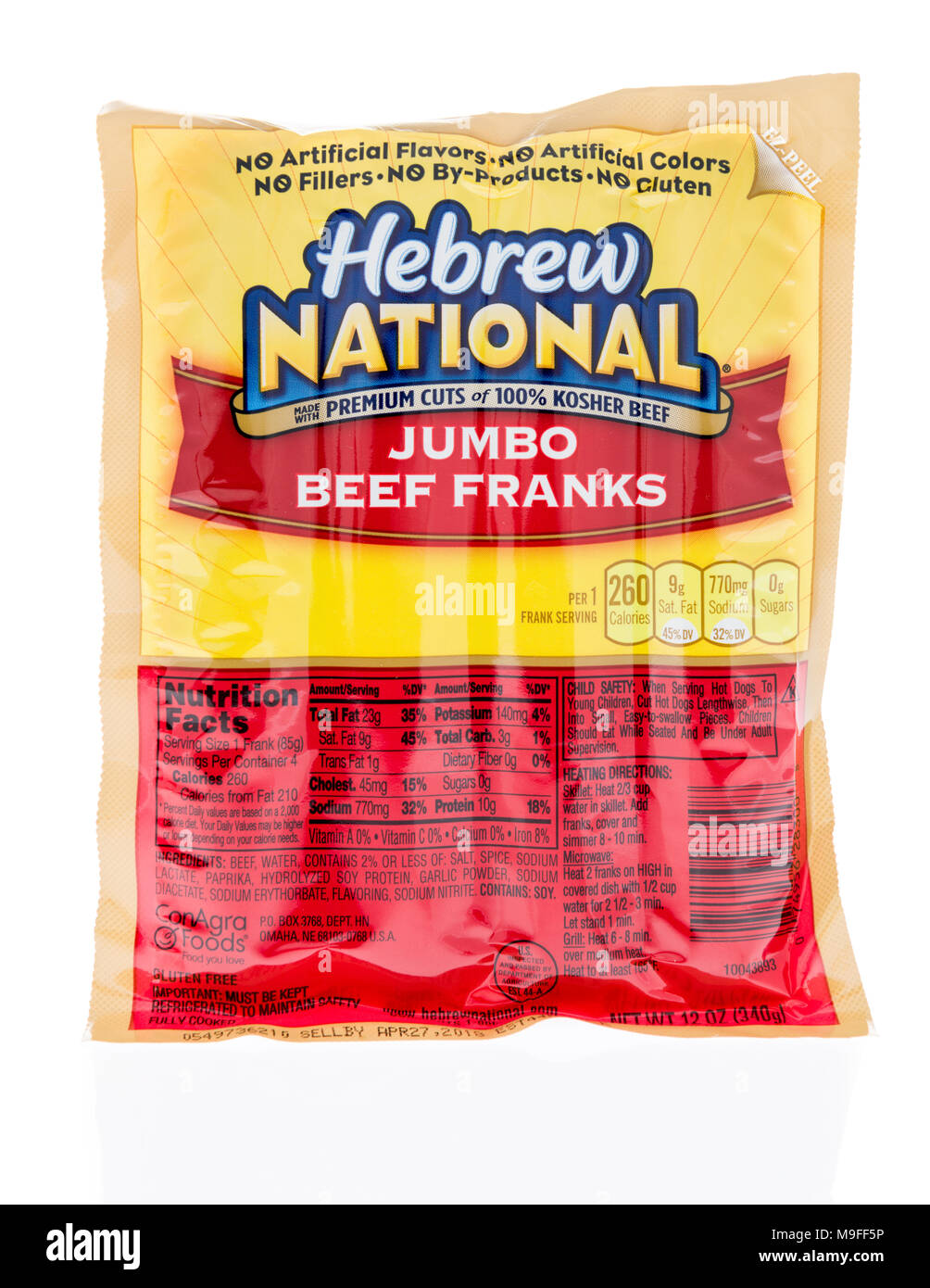 Winneconne, WI - 21 March 2018: A package of Hebrew National jumbo beef franks on an isolated background. - Stock Image