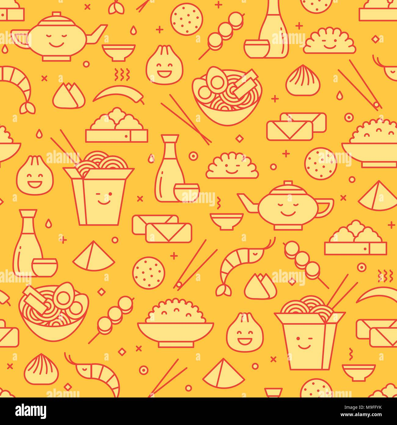 Vector seamless pattern with line icons of Chinese food. Traditional take away boxes, noodles, dim sum, ramen and spring rolls. Smiling faces kawaii. - Stock Vector