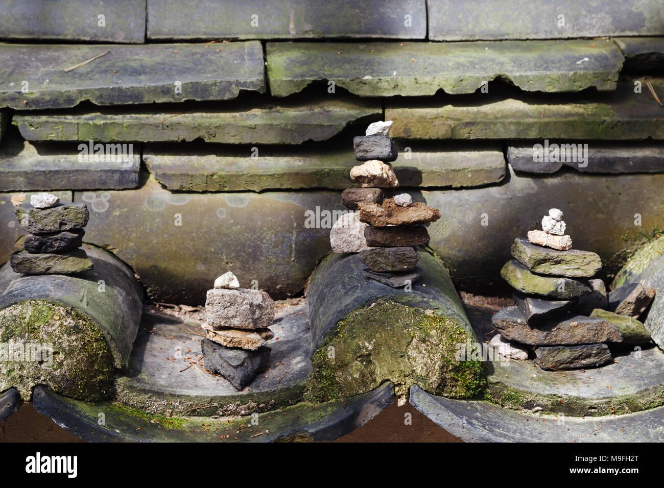 Stone tower at Bulguksa Temple UNESCO World Heritage in Gyeongju, Korea - Stock Image