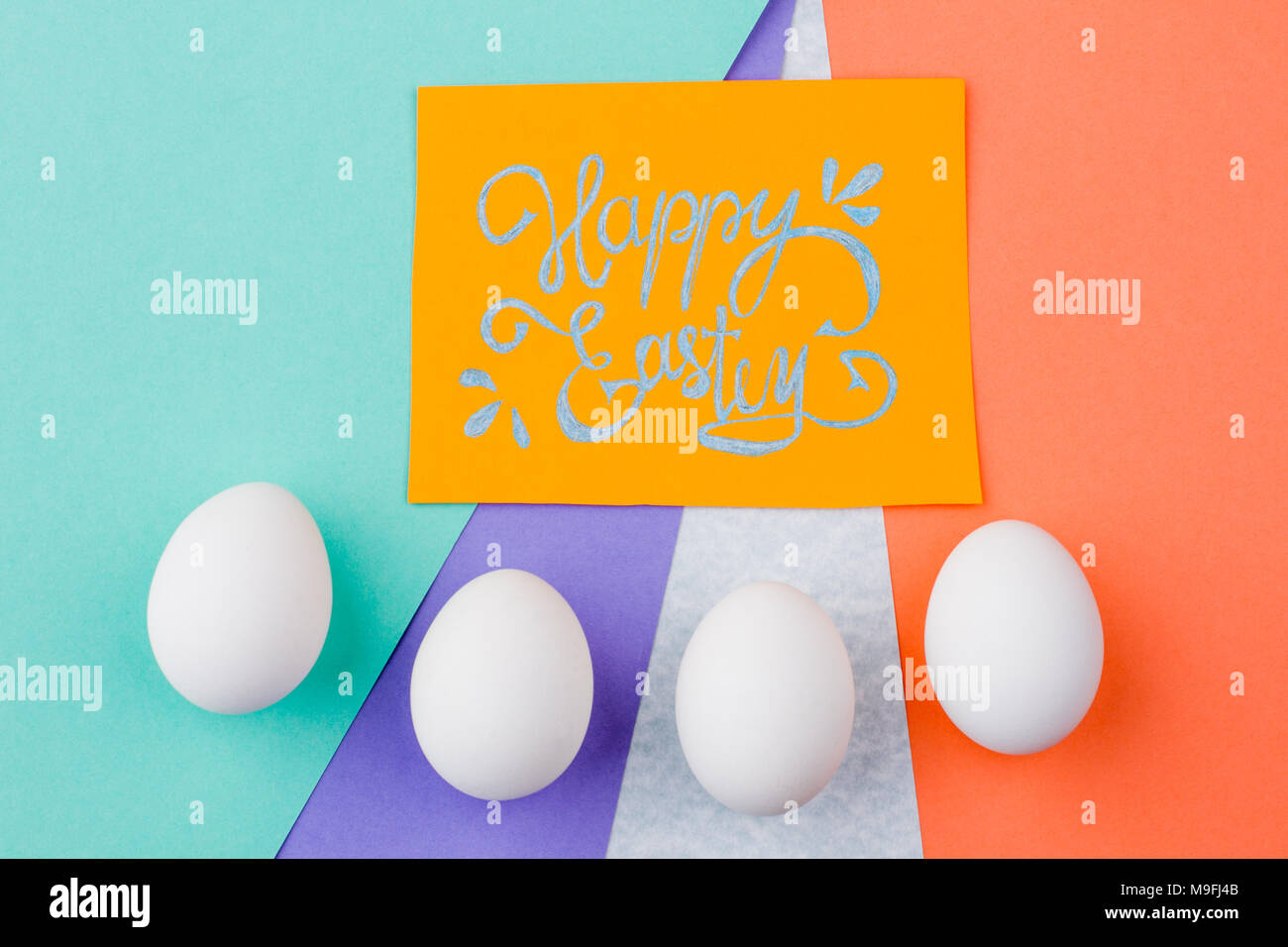 Wishing happy easter stock photos wishing happy easter stock happy easter background with eggs yellow easter greeting card and row of white eggs on kristyandbryce Images