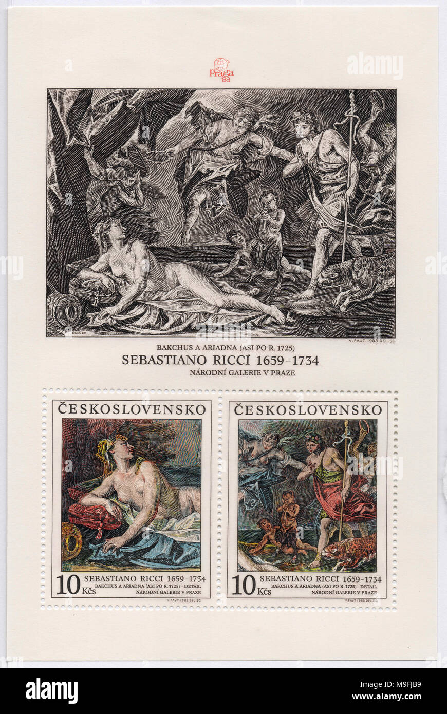 Bacchus and Ariadne by Sebastian Ricci on stamp sheet. Printed in Prague, Czechoslovakia (now Czech Republic) in 1988. Art circa 1725. Stock Photo