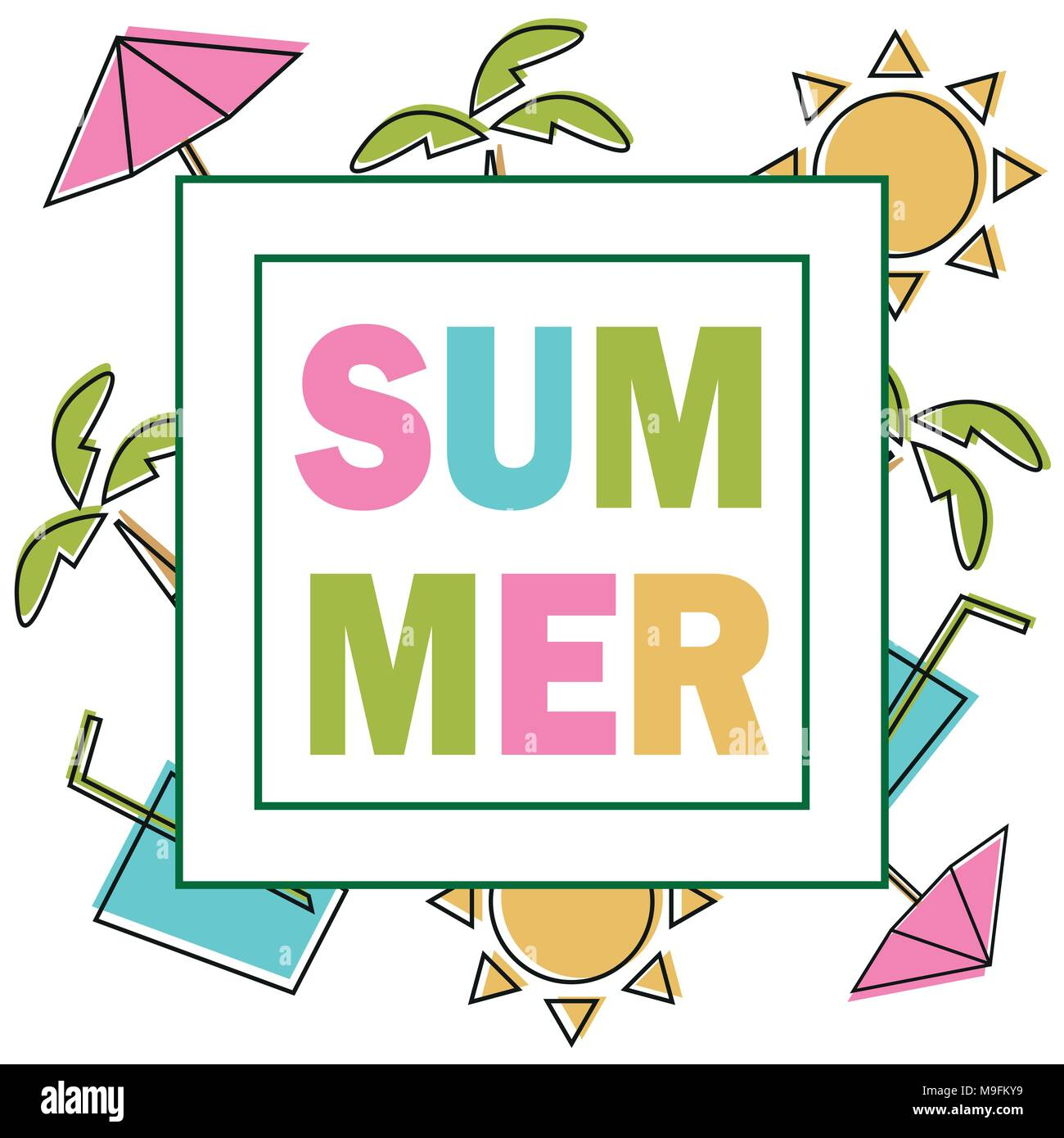 Summer Composition With Coloring Elements Design For Your Poster