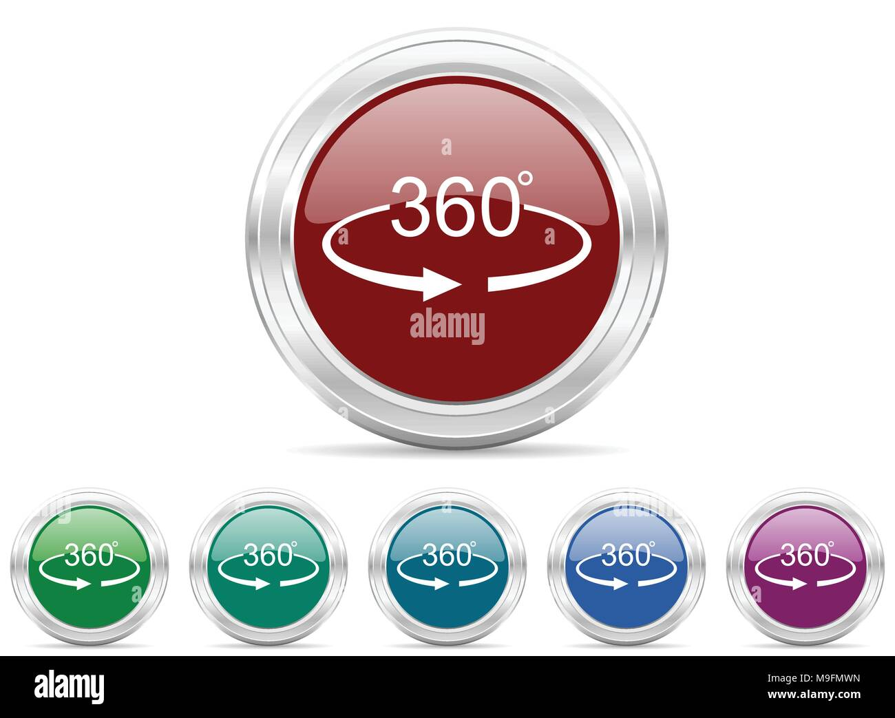 panorama 360 web icon vector set