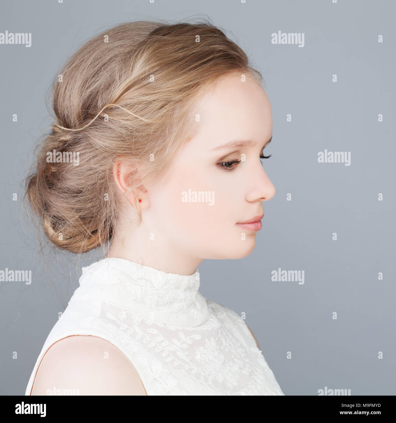 Cute Blonde Girl With Prom Hairstyle Profile Stock Photo 177981313