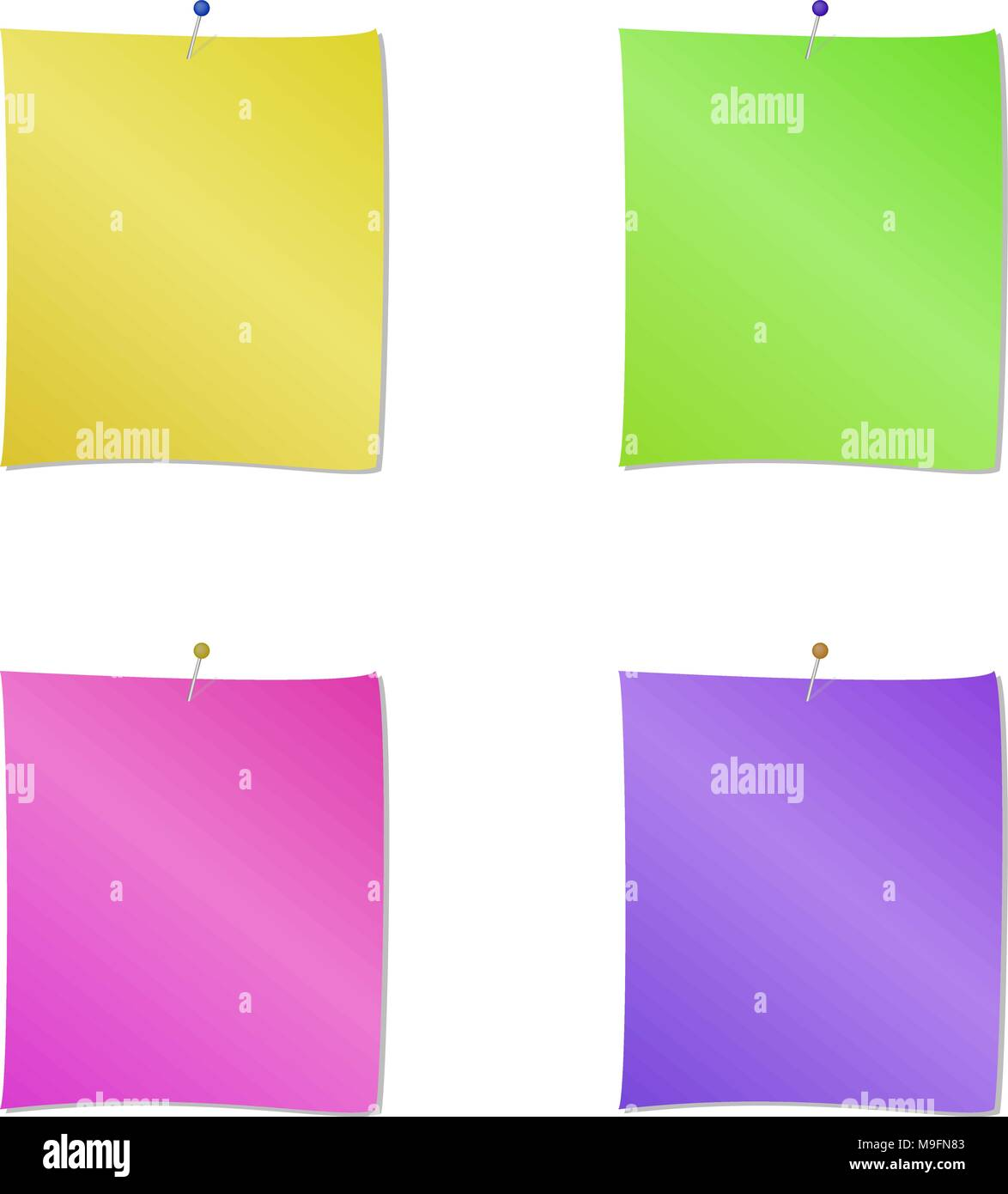 Collection of different colored sheets of note papers and push pin ...