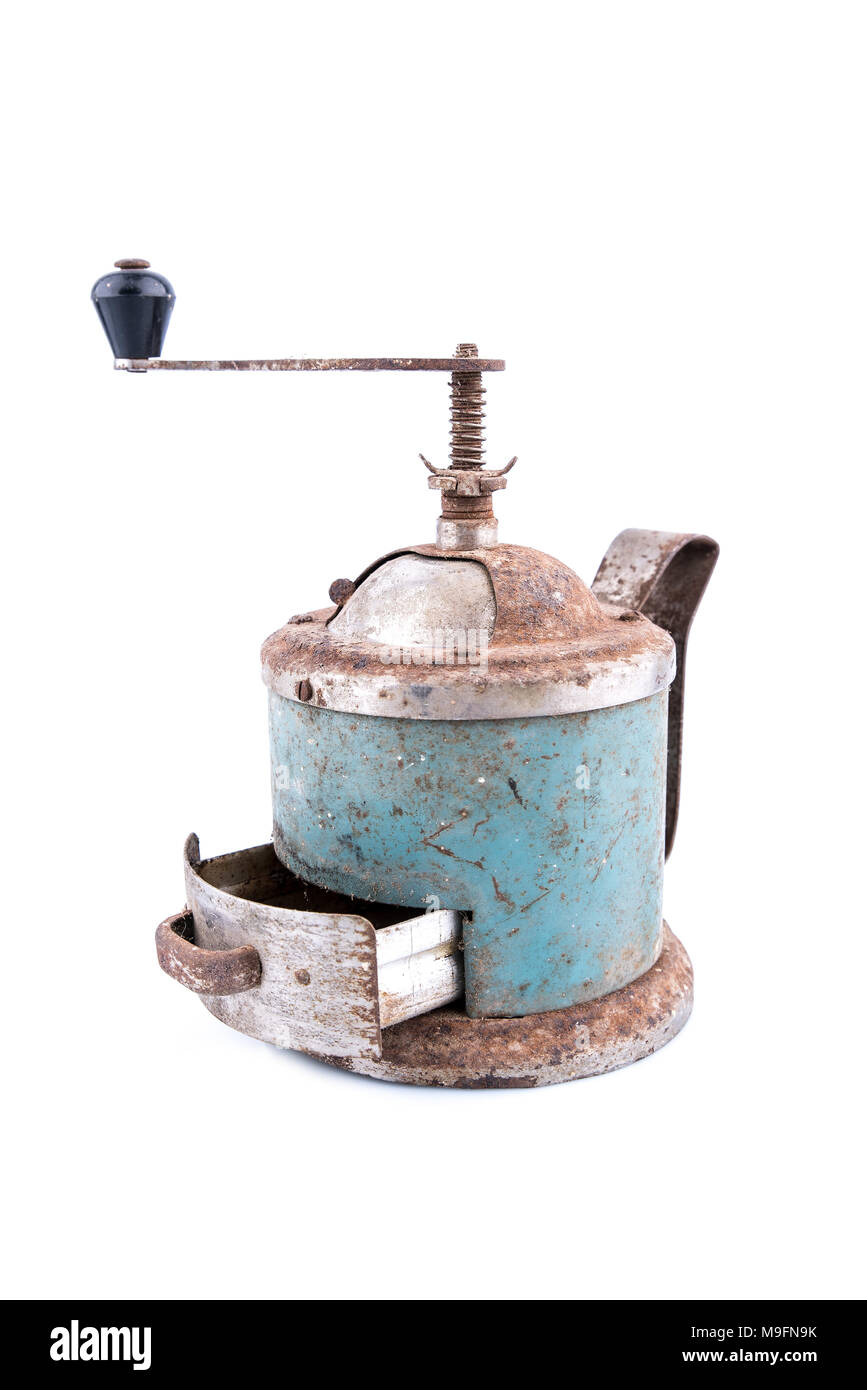 Retro manual coffee mill isolated on white background, object for design, - Stock Image