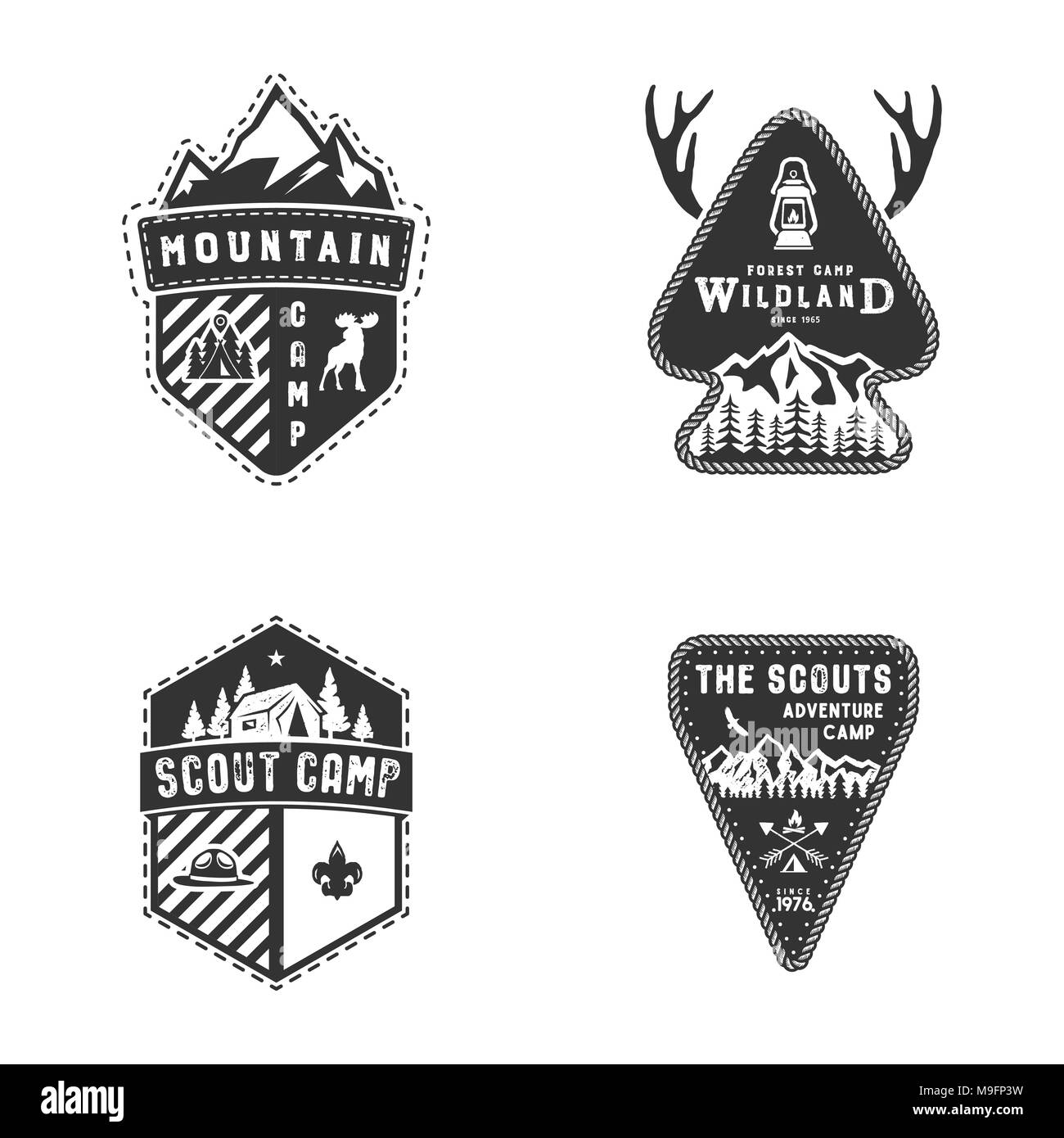 Travel badges, outdoor activity logo collection. Scout camps emblems. Vintage hand drawn travel badge design. Stock vector illustration, insignias, rustic patches. Isolated on white background - Stock Image