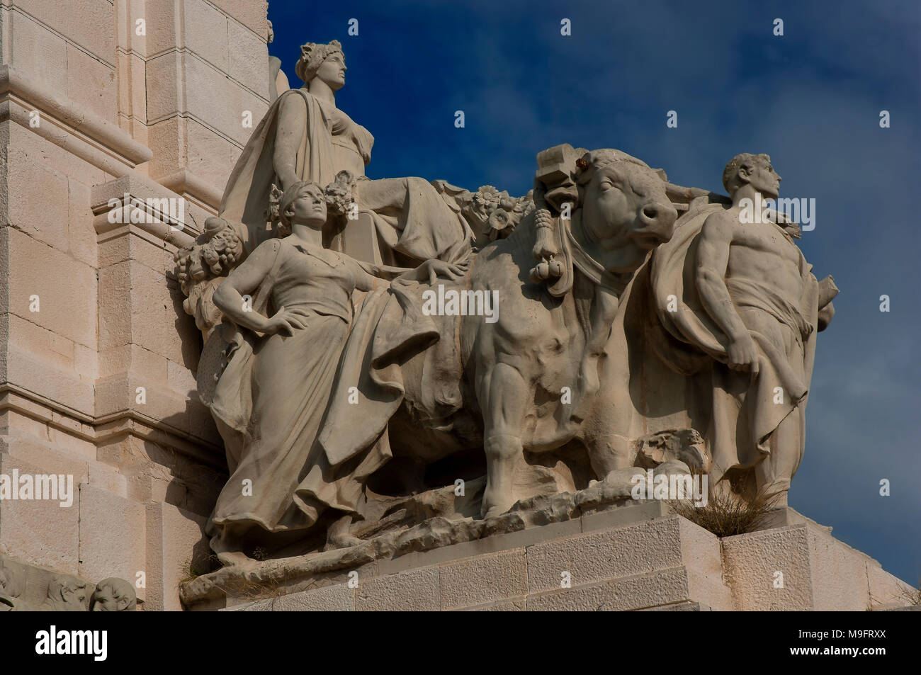 Monument to the Spanish Constitution of the year 1812 - Sculptural group of the allegory of agriculture. Cadiz. Region of Andalusia. Spain. Europe - Stock Image