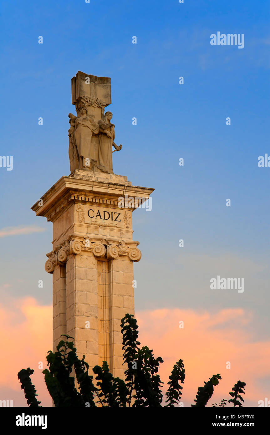 Monument to the Spanish Constitution of 1812 - detail. Cadiz. Region of Andalusia. Spain. Europe - Stock Image