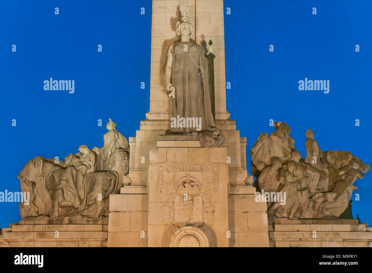 Monument to the Spanish Constitution of 1812 at dusk- detail. Cadiz. Region of Andalusia. Spain. Europe - Stock Image