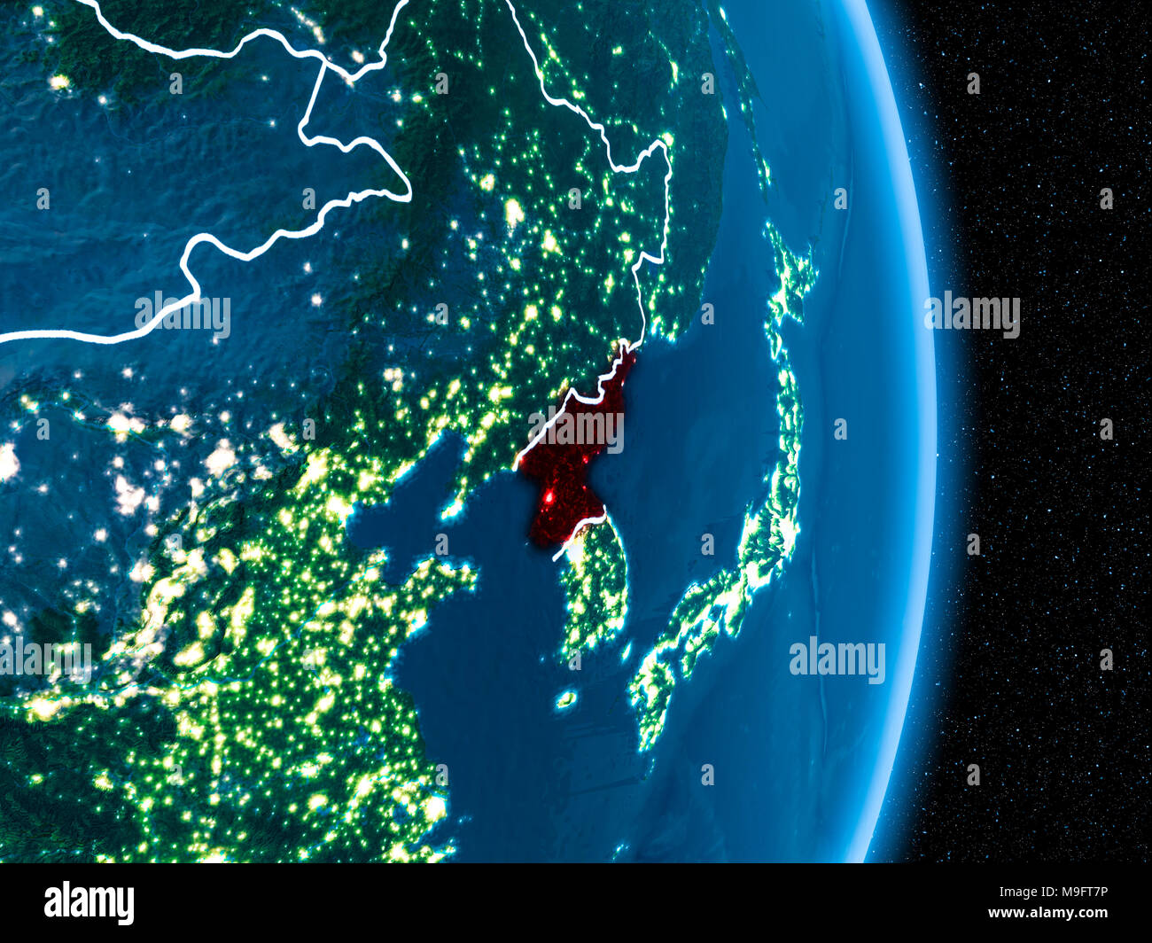 North Korea From Orbit Of Planet Earth At Night With Visible