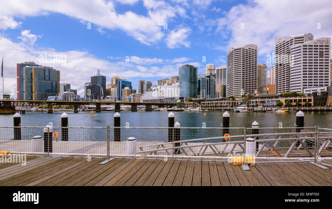 Sydney, Australia - Panorama of modern high rises by Darling Harbour. - Stock Image