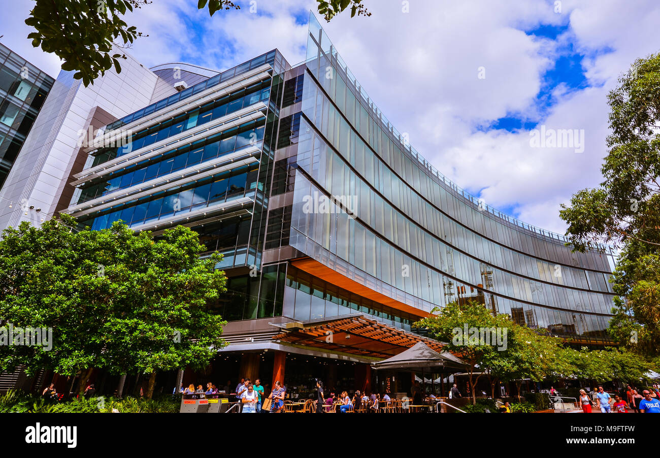 Sydney, Australia - Jan. 27, 2017: Modern commercial building by Darling Harbour and fronting Tumbalong Park, Sydney, NSW, Australia. - Stock Image