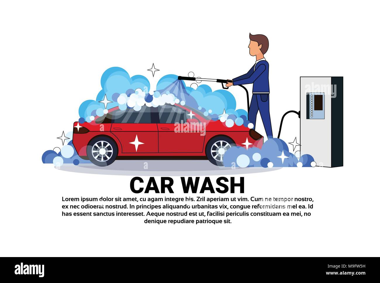 Car Wash Service Worker Cleaning Vehicle Over Copy Space Background