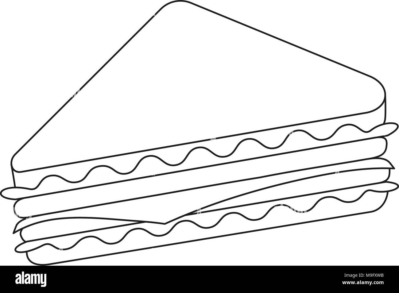Black and white line art sandwich fast food - Stock Vector