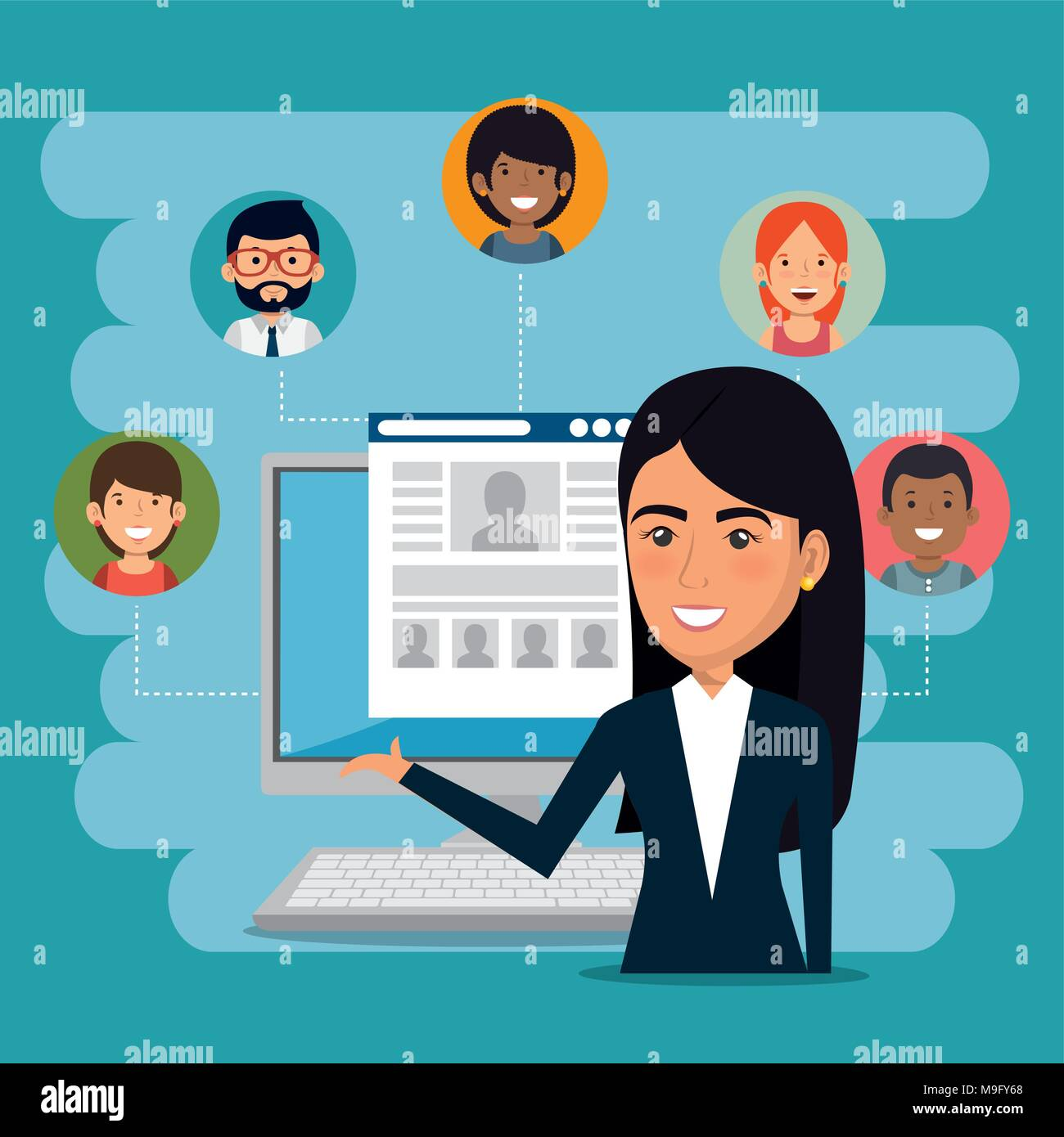businesswoman with e-mail marketing icons - Stock Image