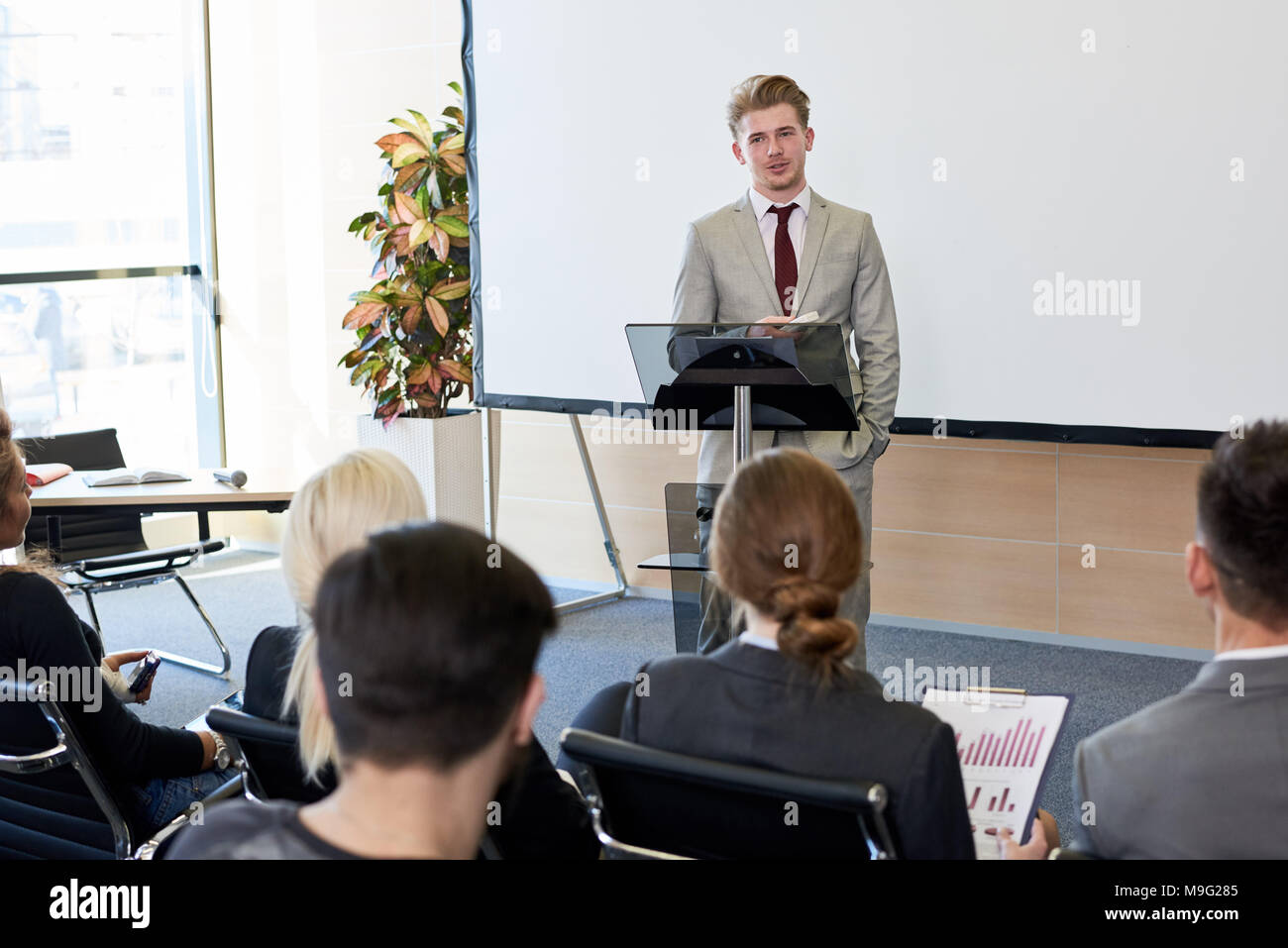 Startup Businessman Presenting Project - Stock Image