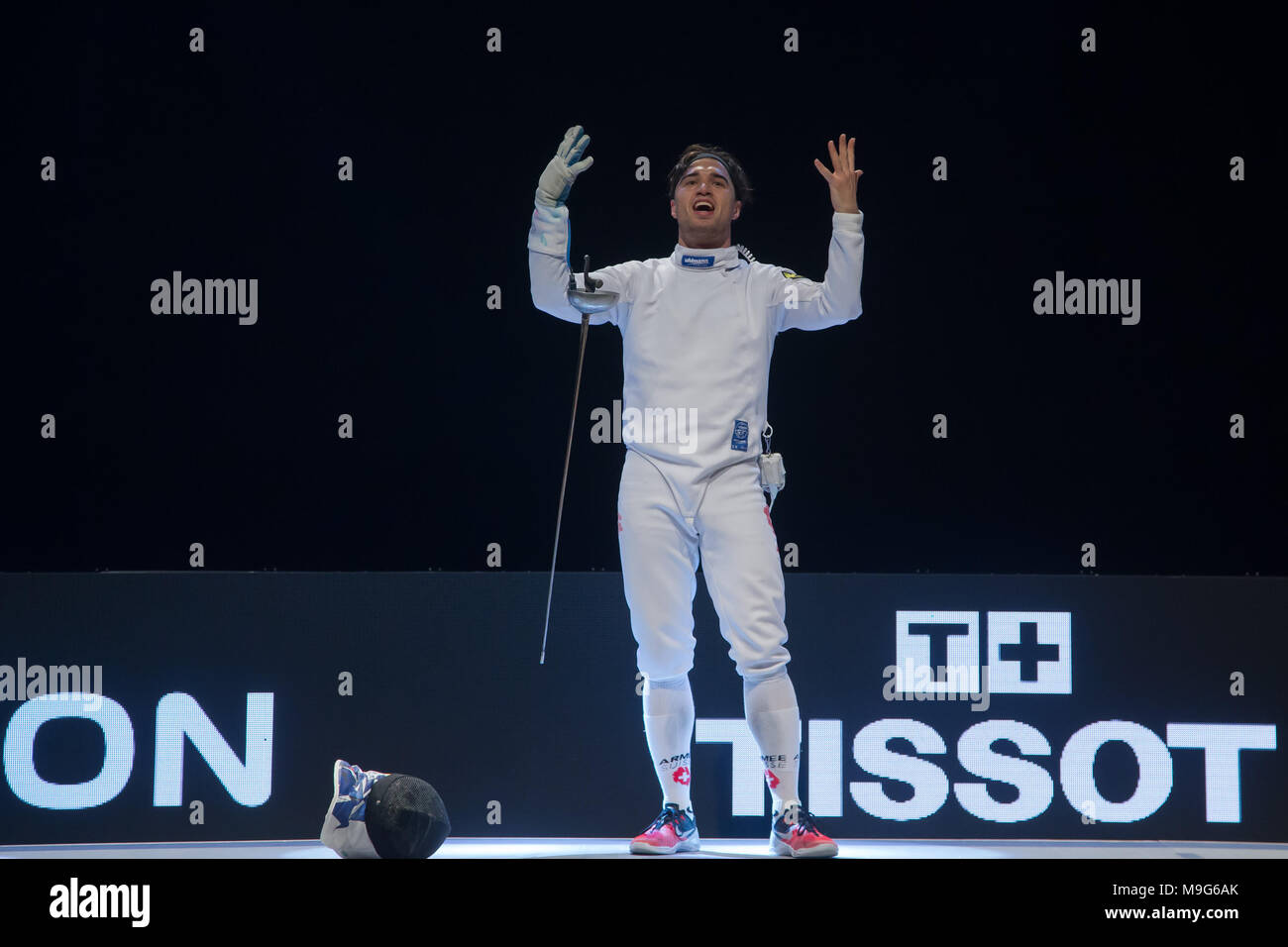 Budapest. 25th Mar, 2018. Max Heinzer of Switzerland celebrates after winning the final of the men's Epee Grand Prix in Budapest, Hungary on March 25, 2018. Max Heinzer claimed the title by defeating Alex Fava of France with 15-13 in the final. Credit: Attila Volgyi/Xinhua/Alamy Live News Stock Photo