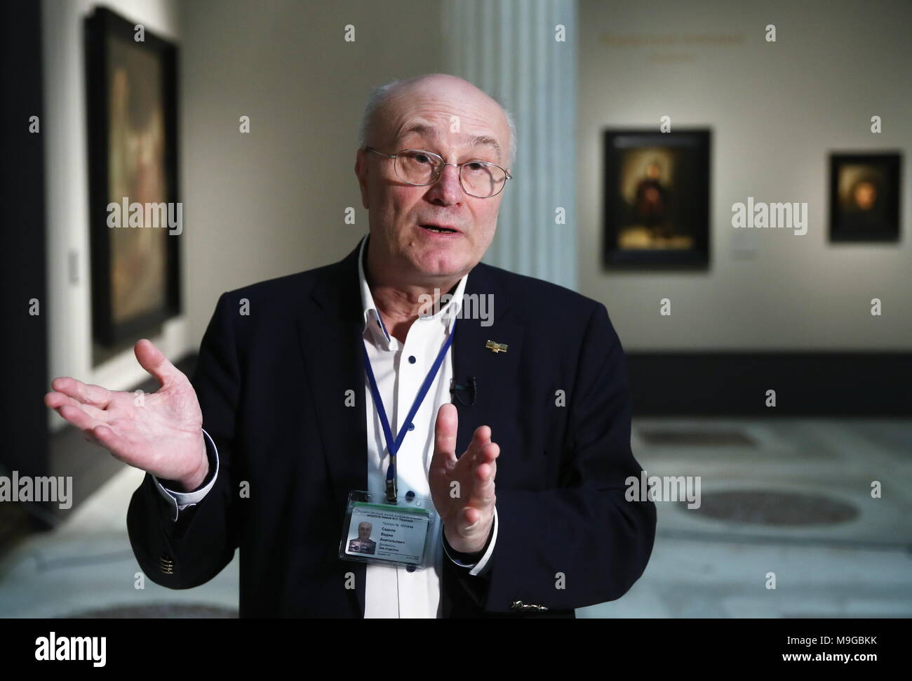"Moscow, Russia. 26th Mar, 2018. MOSCOW, RUSSIA - MARCH 26, 2018: Vadim Sadkov, curator of an exhibition titled ""The age of Rembrandt and Vermeer. Masterpieces of the Leiden Collection"", at the Pushkin State Museum of Fine Arts. Valery Sharifulin/TASS Credit: ITAR-TASS News Agency/Alamy Live News Stock Photo"