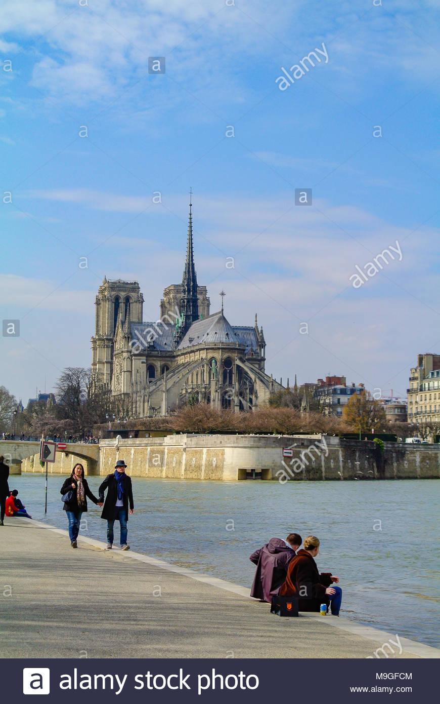 riverside seine river paris france - Stock Image