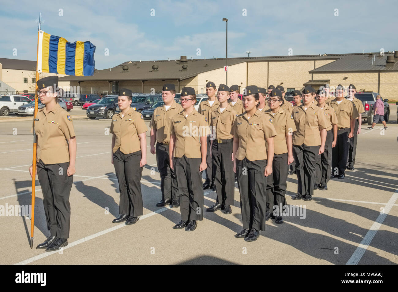 US Navy NJROTC high school cadets in marching drill formation during formal inspections in Georgetown, Texas - Stock Image
